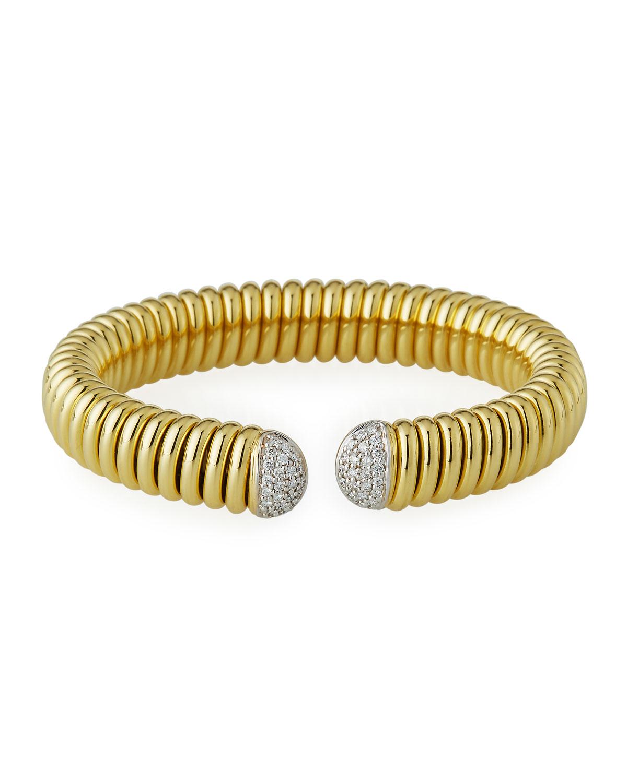 Piazza Mercanti 18k Gold Tubogas Wide Cuff Bracelet w/ Diamonds