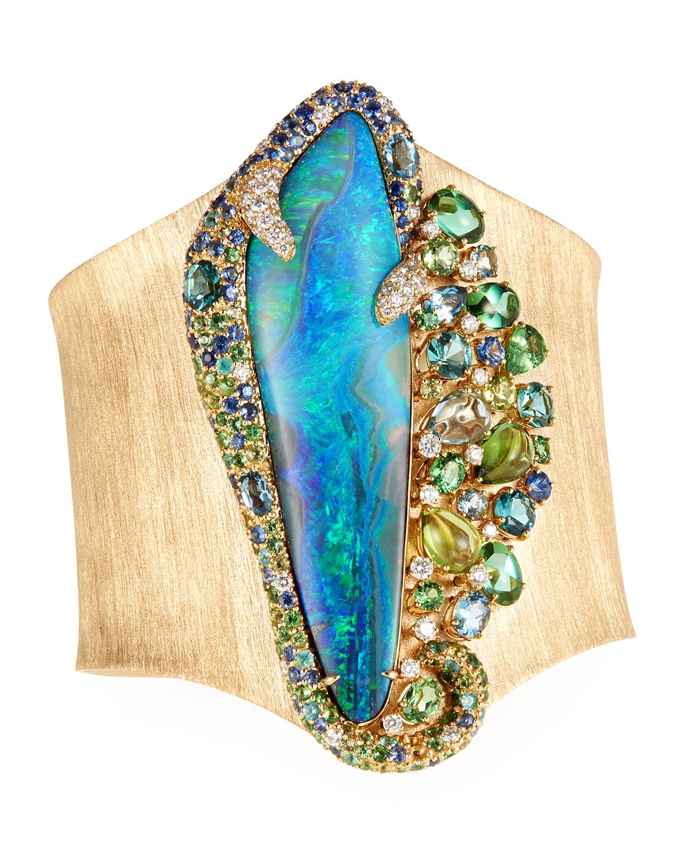 MARGOT MCKINNEY JEWELRY 18K Opal Isle Cuff Bracelet W/ Mixed Stones