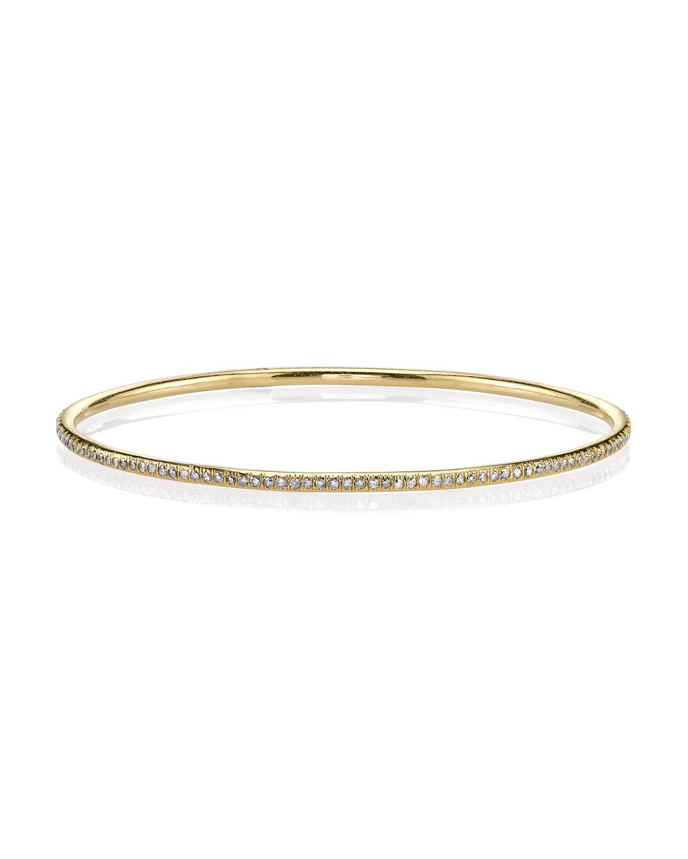 SHERYL LOWE 14K GOLD THIN DIAMOND PAVÉ BANGLE BRACELET