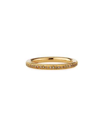 14k Diamond Pave Donut Stack Ring, Size 8
