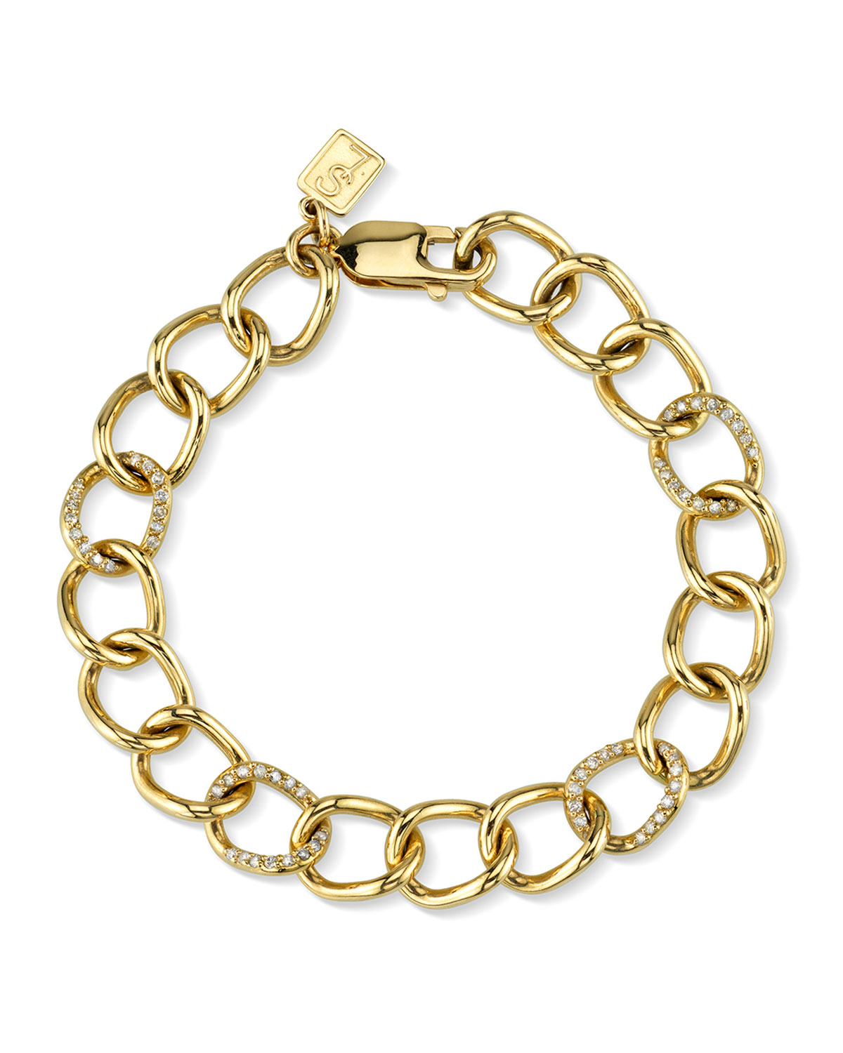 14K GOLD DIAMOND LINK BRACELET
