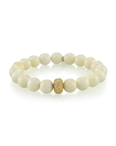Beaded White Bone Bracelet w/ Diamond Station