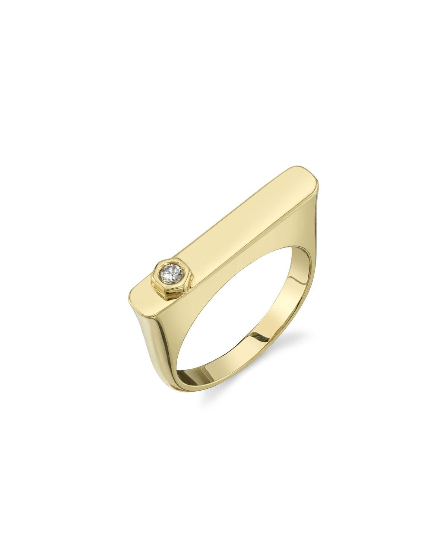 SHERYL LOWE 14K GOLD RECTANGULAR TOWER RING W/ DIAMOND HEXAGON, SIZE 8
