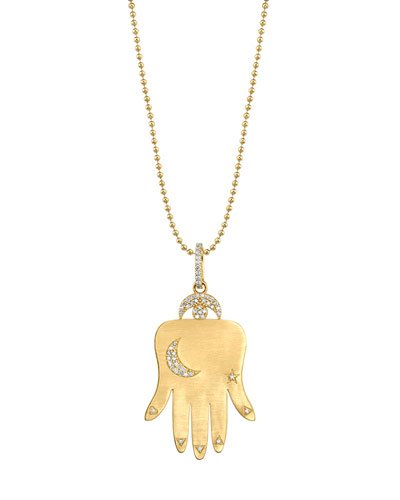 14k Gold Hamsa Pendant Necklace w/ Diamonds