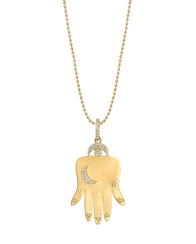 SHERYL LOWE 14K GOLD HAMSA PENDANT NECKLACE W/ DIAMONDS