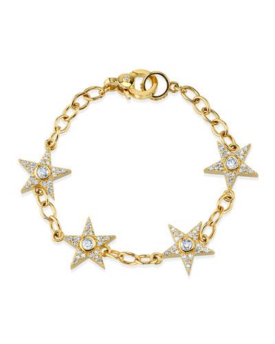 14k Gold Diamond Star Bracelet