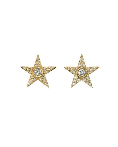 14k Gold Diamond Pave Star Stud Earrings