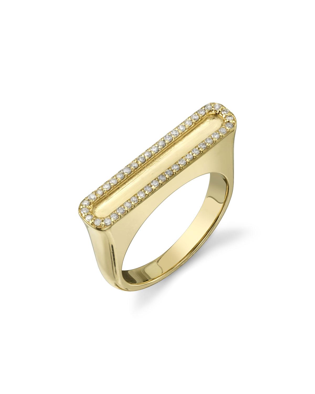 14K GOLD RECTANGULAR DIAMOND-FRAMED TOWER RING, SIZE 8