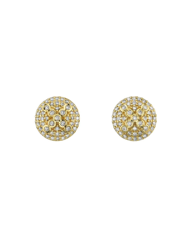14K Gold Domed X-Bezel Diamond Stud Earrings
