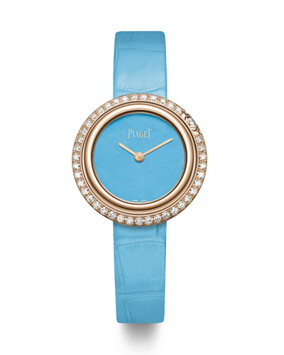 Possession 18k Rose Gold & Diamond Alligator Watch, Turquoise