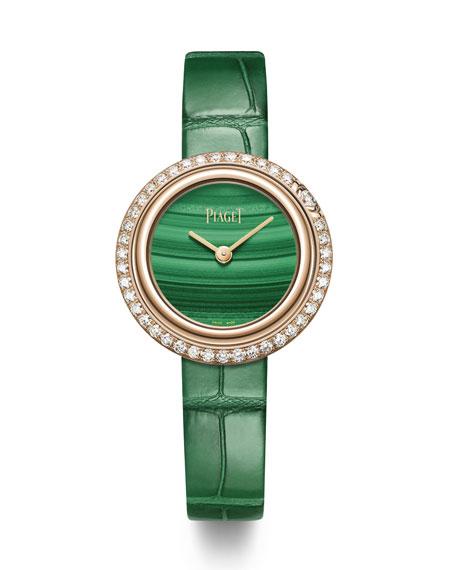 PIAGET Possession 18k Rose Gold & Diamond Alligator Watch, Malachite