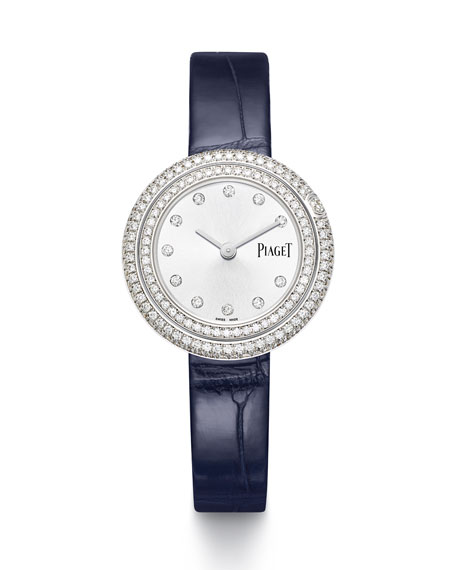 PIAGET Possession 18k White Gold & Diamond Alligator Watch, 1.62tcw