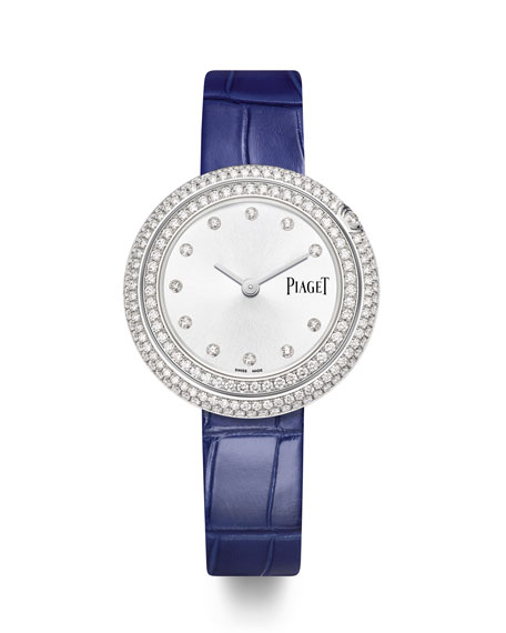 PIAGET Possession 18k White Gold & Diamond Alligator Watch, 2.2tcw