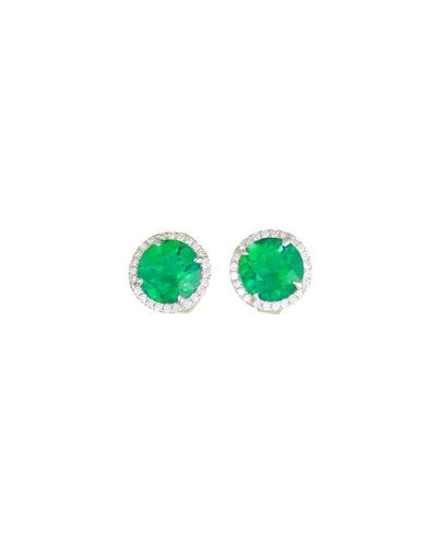 18K White Gold Round Lab-Created Emerald & Diamond Halo Stud Earrings