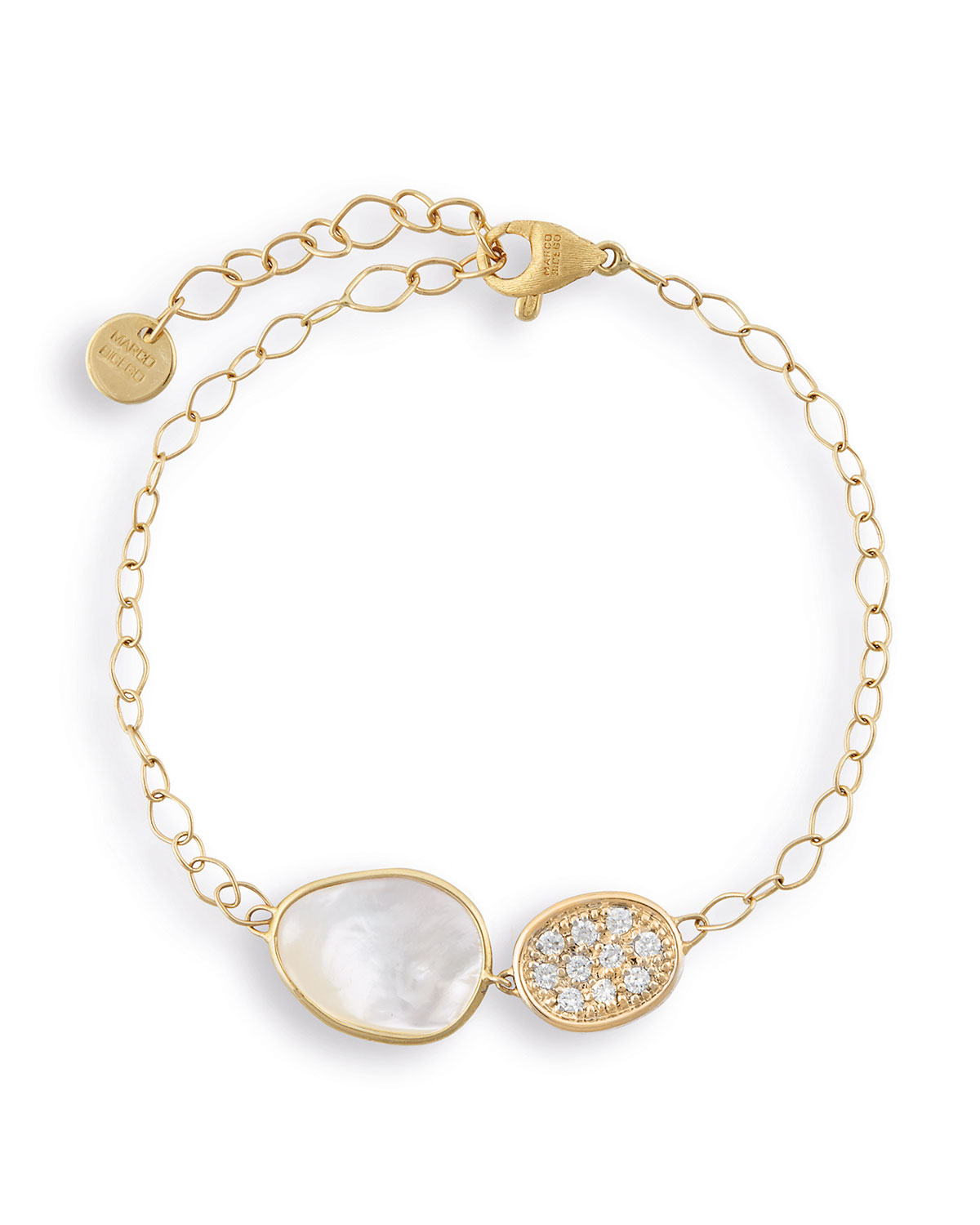 MARCO BICEGO LUNARIA GOLD TWO-PENDANT BRACELET WITH WHITE MOTHER-OF-PEARL & DIAMONDS