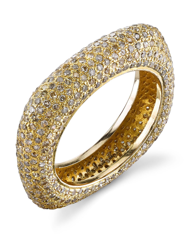 SHERYL LOWE 14K GOLD DIAMOND SQUARE STACK RING, SIZE 8