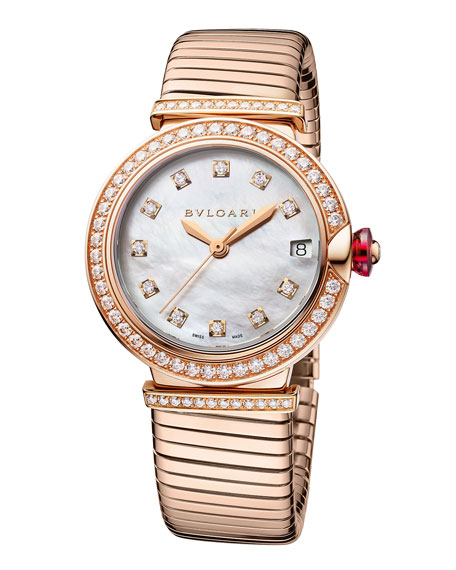 BVLGARI LVCEA Tubogas 33mm Diamond Bracelet Watch, 18k Rose Gold