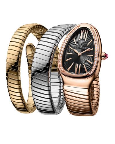 35mm Serpenti Tubogas Diamond Coil Watch, Tricolor