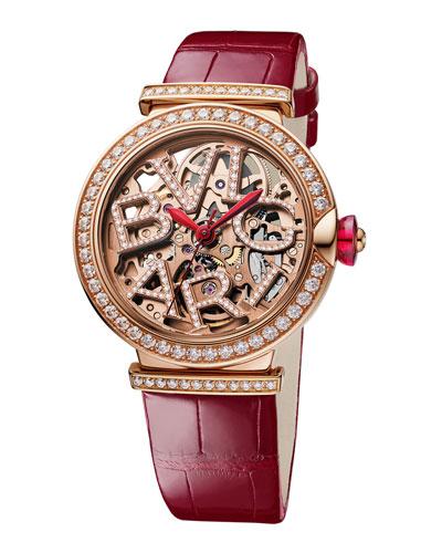 LVCEA Skeleton 33mm Diamond Leather Watch, Red/Rose