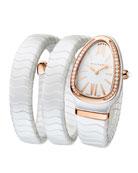 BVLGARI 35mm Serpenti Spiga Diamond Coil Watch, White/Rose