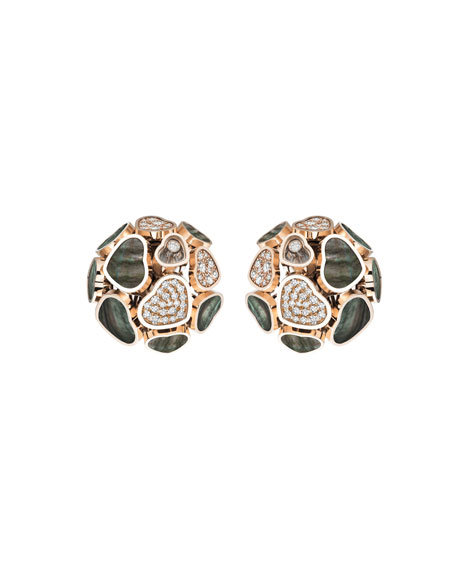 Chopard Happy Hearts 18k Rose Gold Mother-of-Pearl & Diamond Earrings