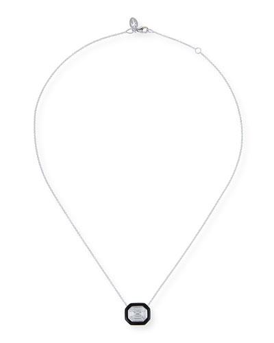 18k White Gold Oui Diamond & Enamel Necklace