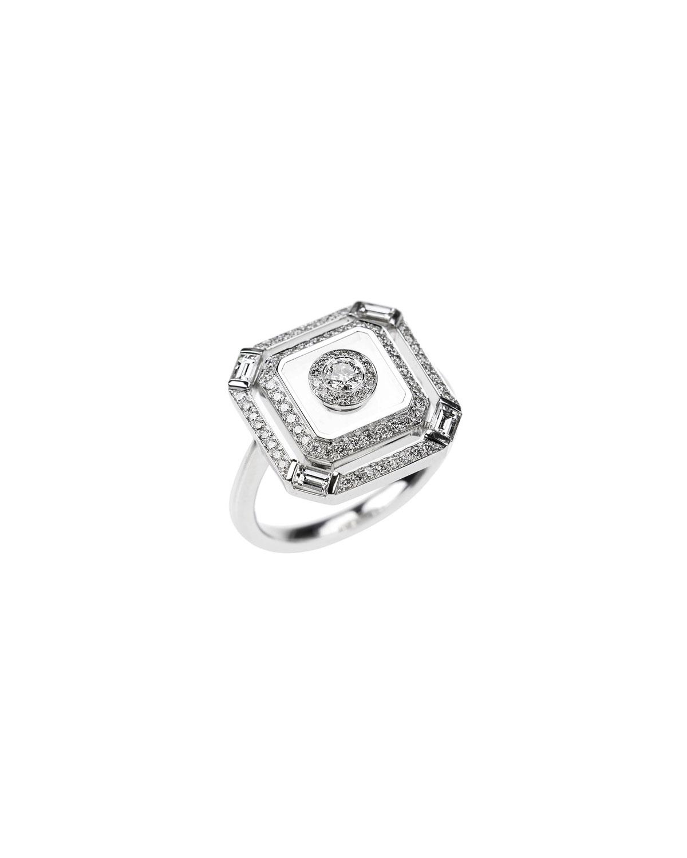 NIKOS KOULIS Universe Line 18K White Gold Square Diamond Ring, Size 6.75