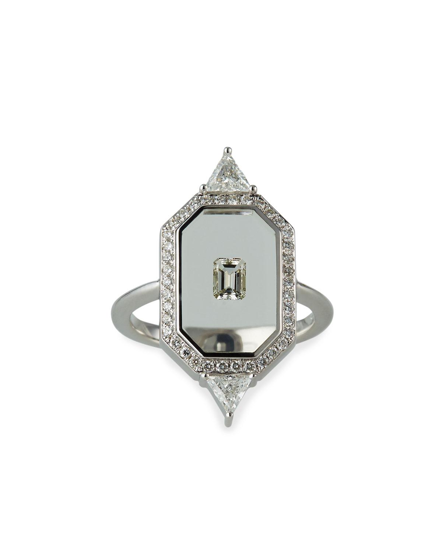 NIKOS KOULIS Universe Line 18K White Gold Mixed-Diamond Ring, Size 6.75