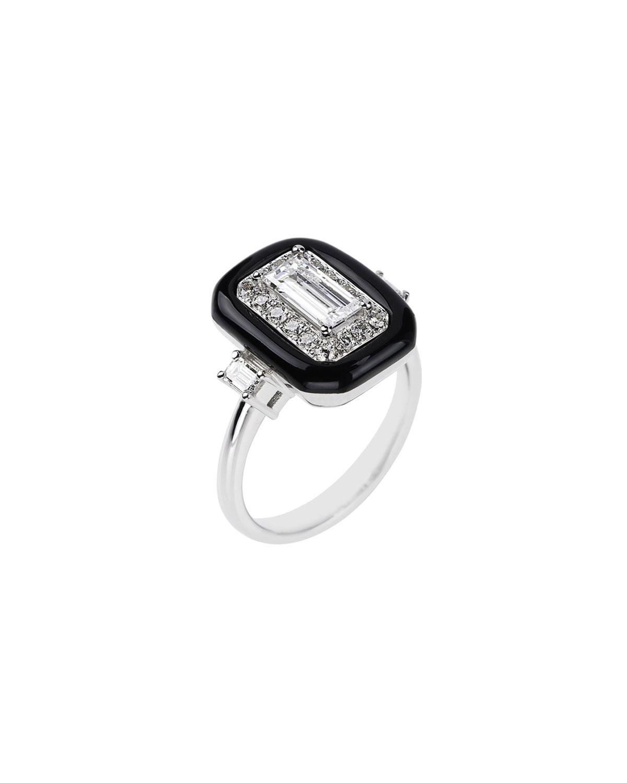NIKOS KOULIS 18K White Gold Oui Mixed-Cut Diamond Ring, Size 6.75