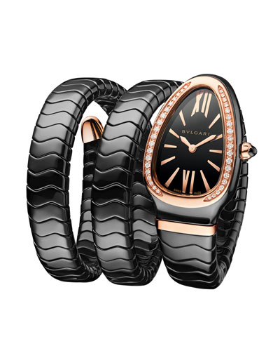 35mm Serpenti Spiga Diamond Coil Watch, Black/Rose