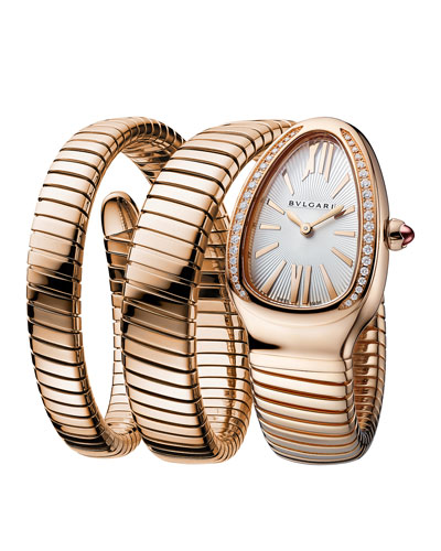 35mm Serpenti Tubogas Rose Gold Diamond Watch