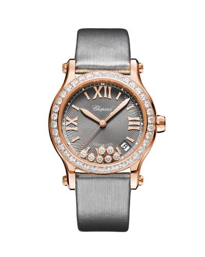 18k Rose Gold Happy Sport Diamond Watch
