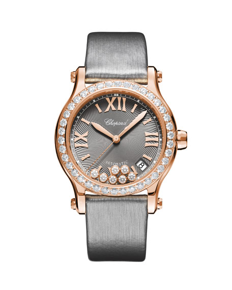 Chopard 18k Rose Gold Happy Sport Diamond Watch