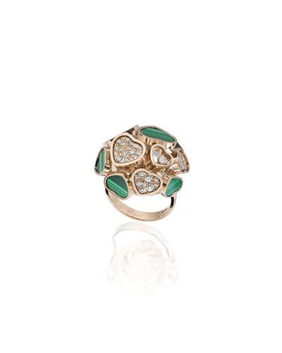 Happy Hearts 18k Rose Gold Malachite & Diamond Ring, Size 53