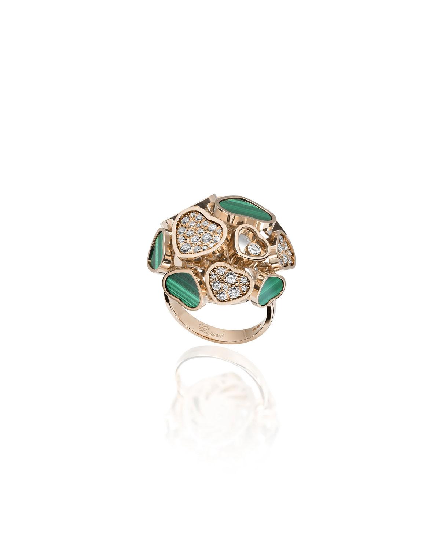 Happy Hearts 18k Rose Gold Malachite & Diamond Ring