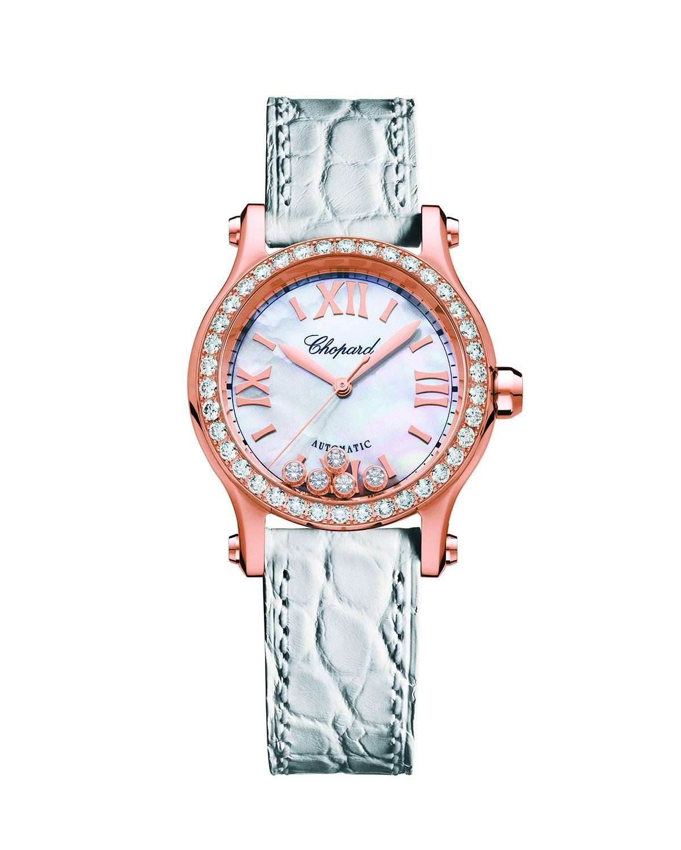 Mini Happy Sport 18k Rose Gold Automatic Watch w/ Diamonds