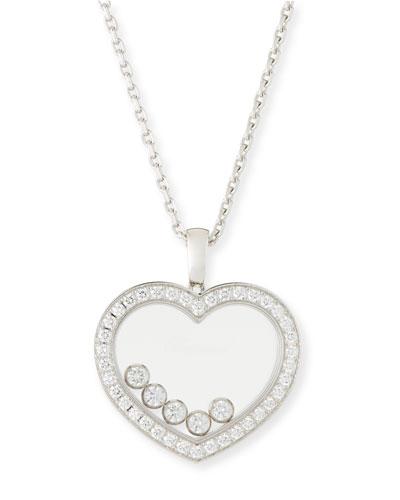 Happy Diamonds Heart Pendant Necklace in 18K White Gold