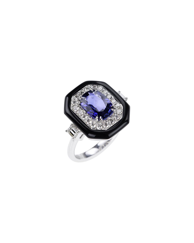 NIKOS KOULIS 18K White Gold Oui Diamond & Sapphire Ring, Size 6.75