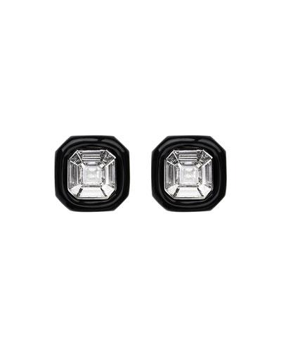 18k White Gold Oui Diamond & Black Enamel Stud Earrings