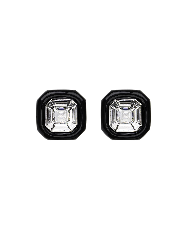 NIKOS KOULIS 18K White Gold Oui Diamond & Black Enamel Stud Earrings