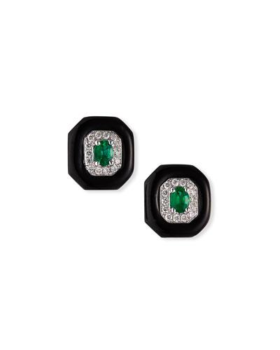 18k White Gold Oui Diamond & Emerald Stud Earrings