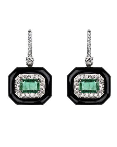 18k White Gold Oui Diamond Pave & Emerald Earrings