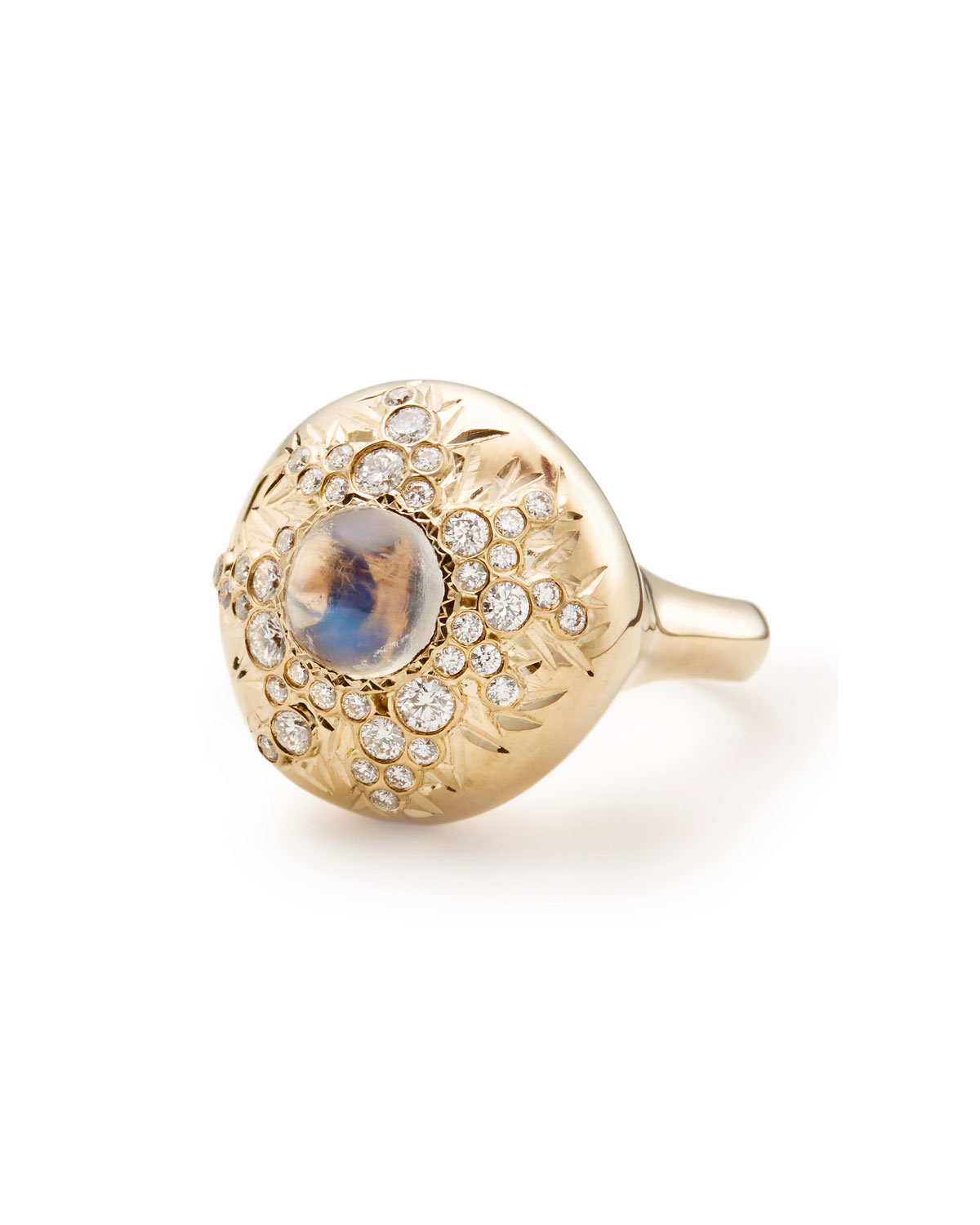 ADAM FOSTER FINE JEWELRY 18K Gold Moonstone & Diamond Blister Ring