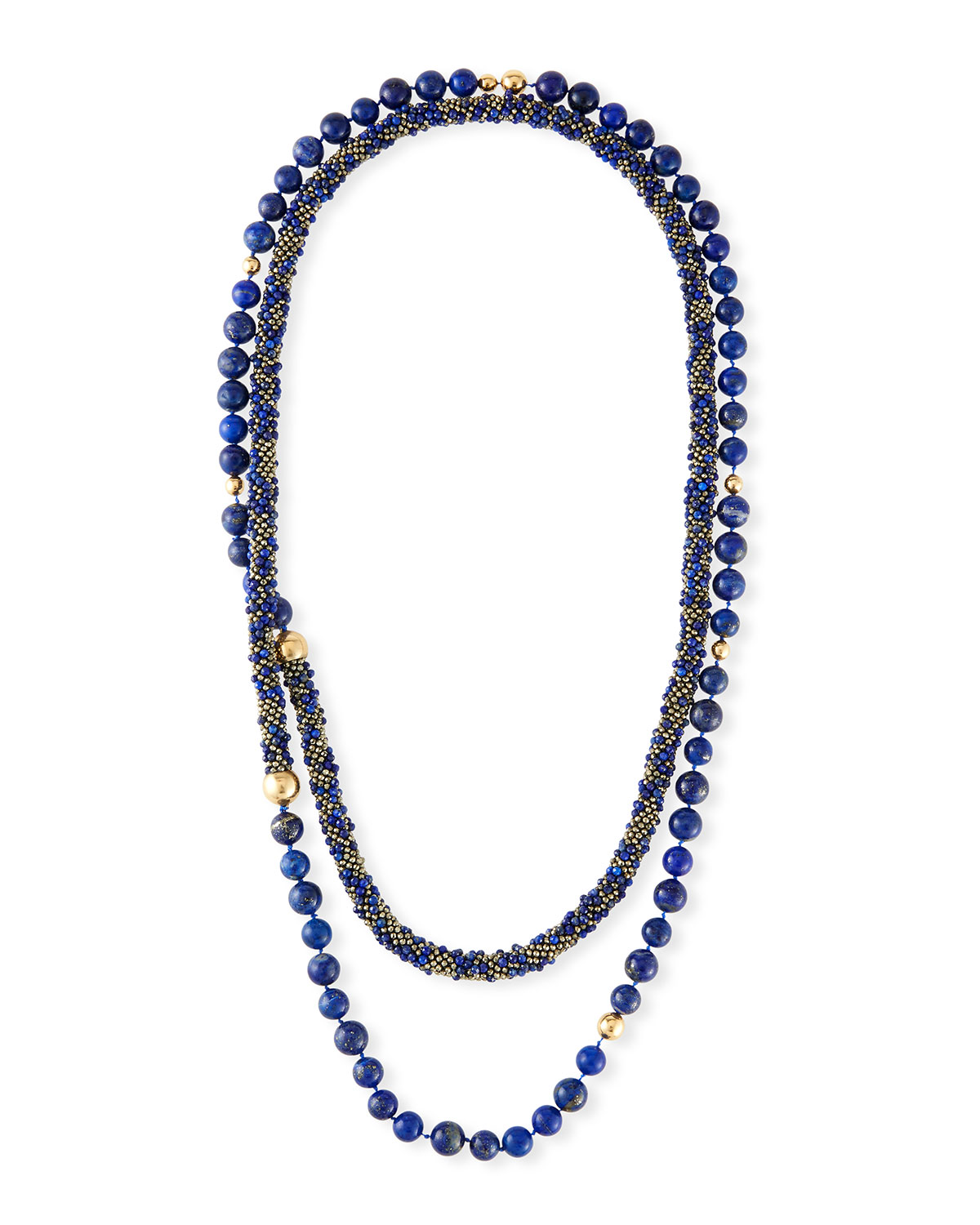 ADAM FOSTER FINE JEWELRY Long Lapis & Pyrite Beaded Necklace