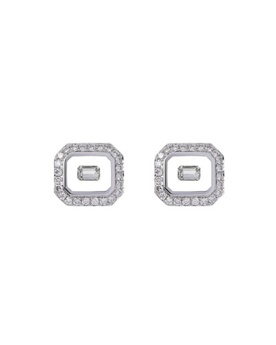 Universe Line 18k White Gold Diamond Stud Earrings