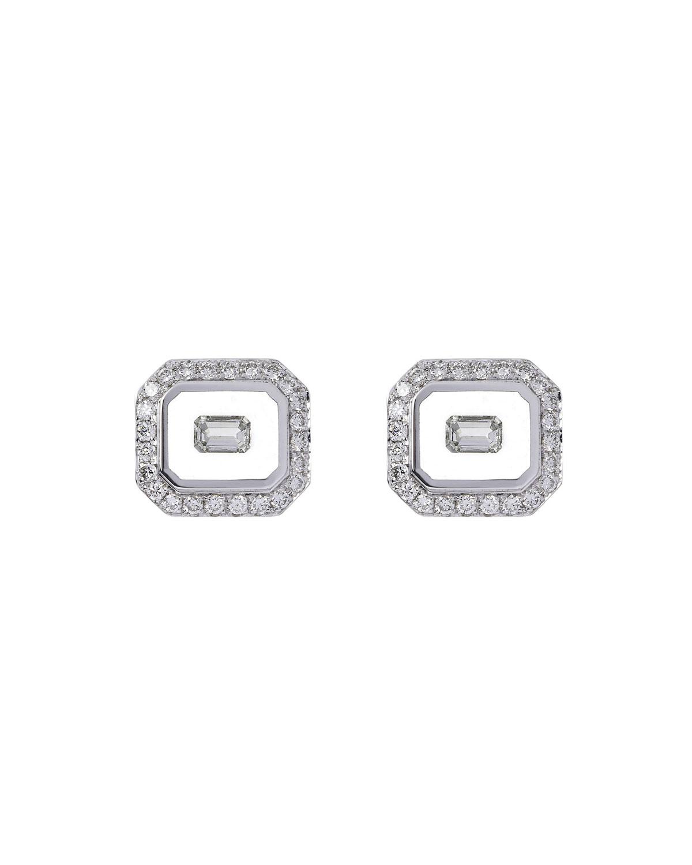 NIKOS KOULIS Universe Line 18K White Gold Diamond Stud Earrings