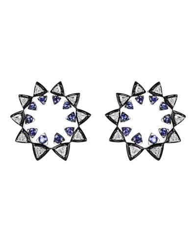 V 18k White Gold Diamond & Sapphire Sun Earrings