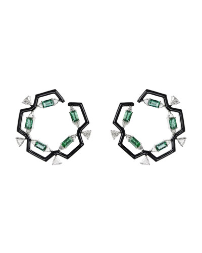 Oui 18k White Gold & Black Enamel Hoop Earrings with Emeralds & Diamond