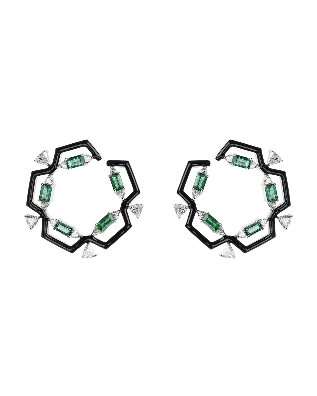 NIKOS KOULIS Oui 18K White Gold & Black Enamel Hoop Earrings With Emeralds & Diamond