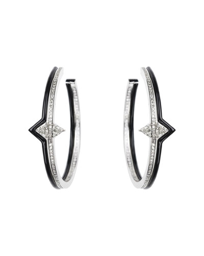 V 18k White Gold, Black Enamel & Diamond Hoop Earrings
